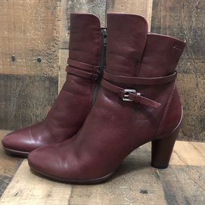 Ecco Sculptured 75 Ankle Bootie Size 39 Burgundy